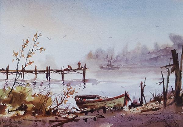 John McDonald Watercolor Painting of Gulf Coast Sea Shore