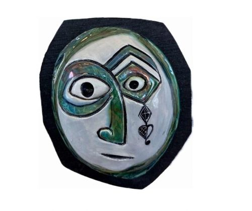 Raku Mask on Wood