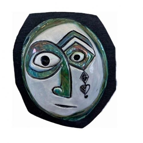 Raku Mask on Wood
